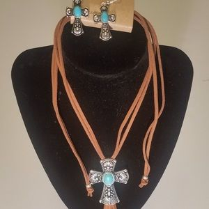 Faux Suede Necklace w/Silver toned Cross